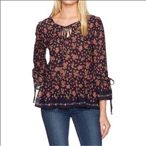 Max Studio Navy Blue Floral Bell Sleeve Blouse